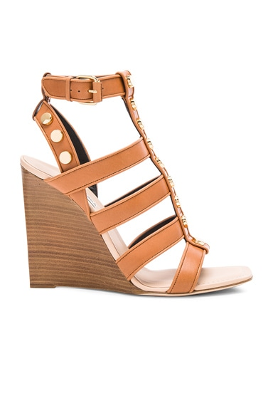 Balenciaga Studded Leather Wedge Sandals in Cognac