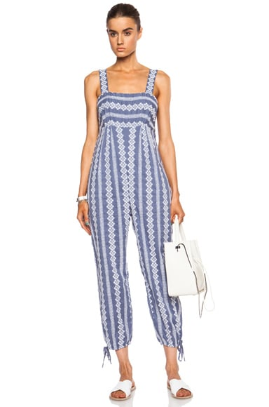Stripe Cotton Eyelet Jumpsuit with Ankle Ties