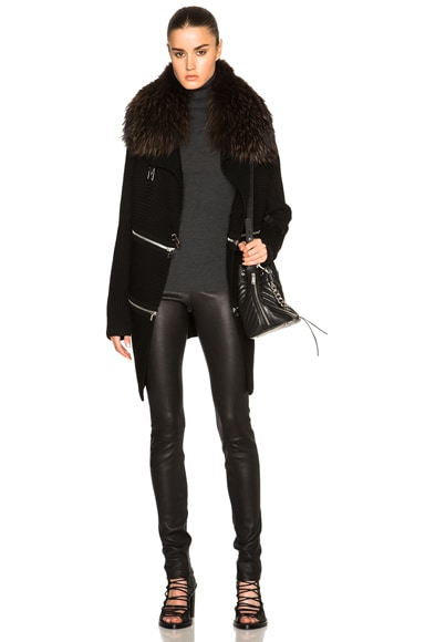 Long Zip Cardigan with Raccoon Fur Collar
