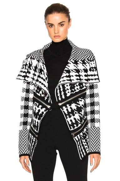 Barbara Bui Zip Cardigan in Black & White