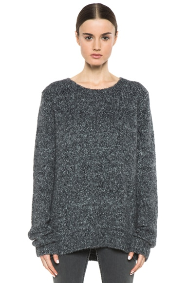 Loose Fit Nylon-Blend Round Neck Sweater