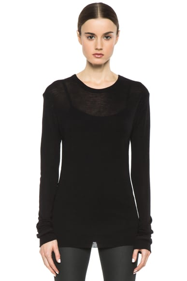 Slim Fitted Wool-Blend Round Neck Tee