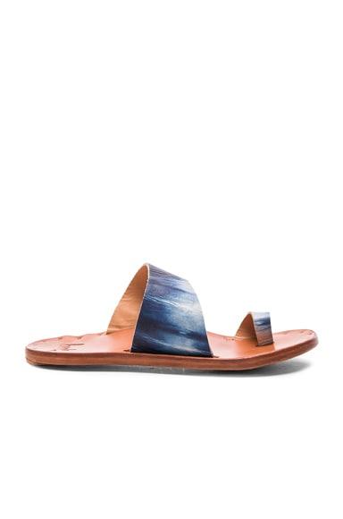 Beek Finch Indigo Sandals in Indigo Stripe & Tan