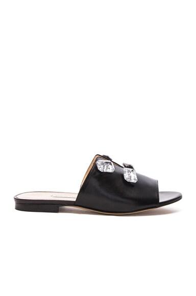 Bionda Castana Leather Paulette Slides in Black