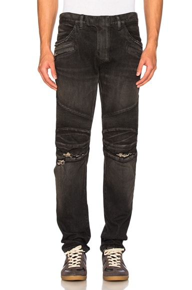 BALMAIN Biker Stretch Jeans in Black