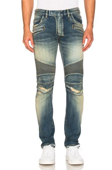 BALMAIN Biker Stretch Jeans in Blue