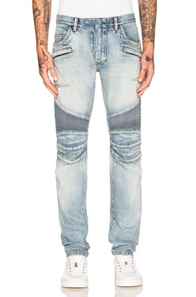 BALMAIN Slim Biker Jeans in Blue