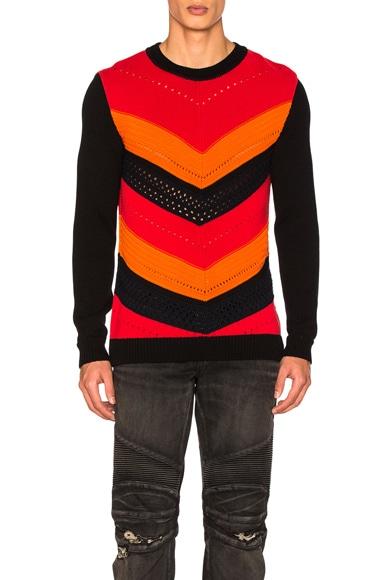 BALMAIN Chevron Sweater in Multi