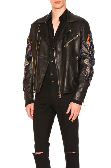 Serpent Embroidered Leather Jacket