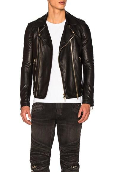 BALMAIN Leather Jacket in Black