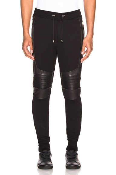 Ribbed Moto Sweatpants with Leather Details