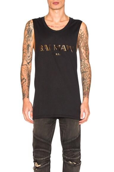 BALMAIN Sleeveless Logo Tee in Black