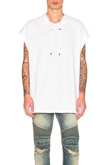 BALMAIN Oversize Hooded Shirt in White