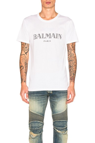 BALMAIN Logo Tee in White
