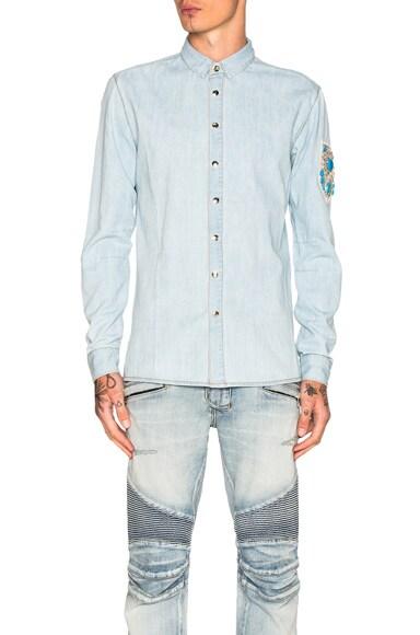 BALMAIN Embroidered Denim Shirt in Blue