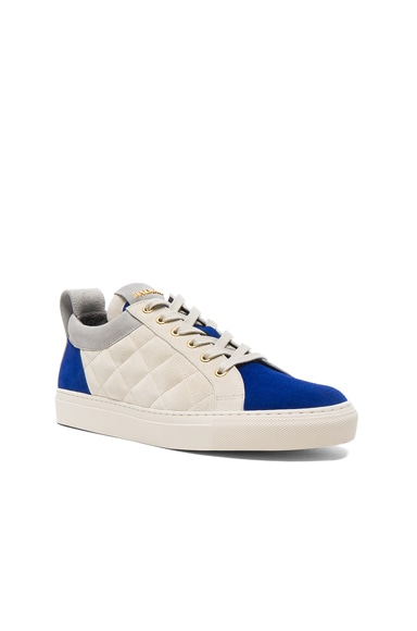 BALMAIN Quilted Suede Sneakers in Blue
