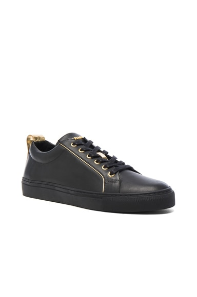 BALMAIN Gold Piping Leather Sneakers in Black