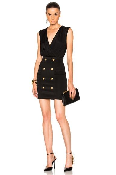 BALMAIN Drape Mini Dress in Black