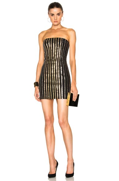 BALMAIN Strapless Sequin Mini Dress in Black, Gold & Silver