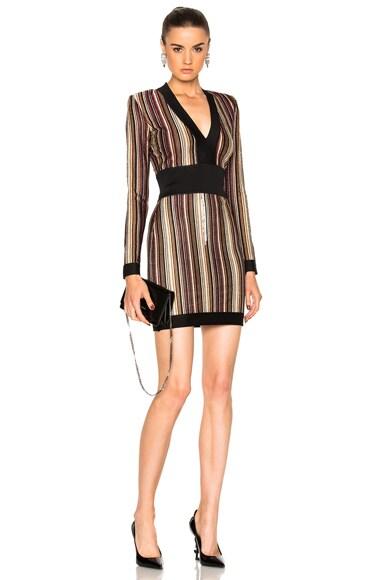 BALMAIN Striped Mini Dress in Multi