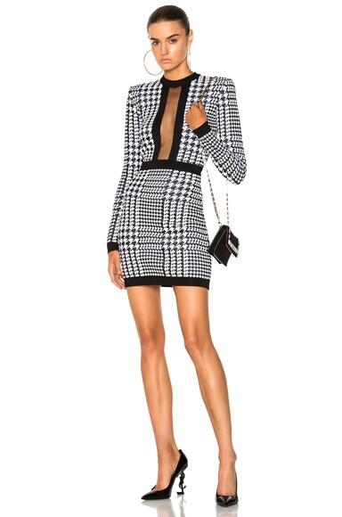 Printed Sheer Panel Mini Dress