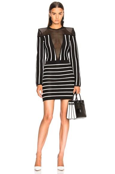 Mesh Detail Striped Mini Dress