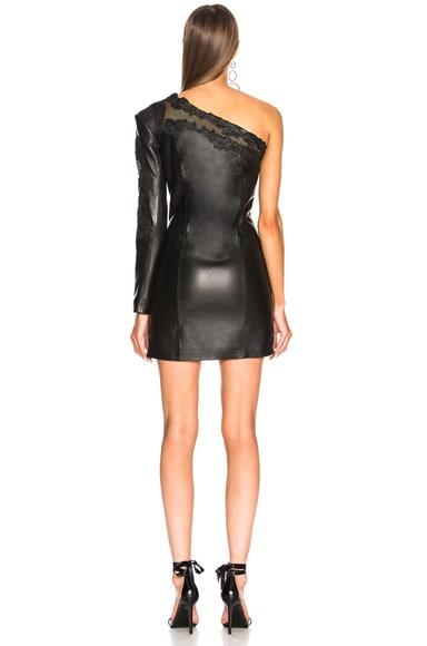 Leather One Shoulder Mini Dress