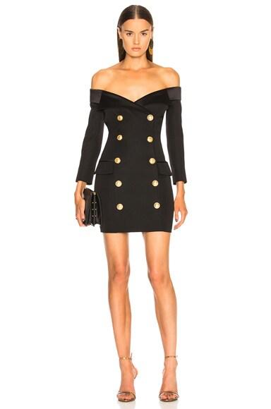 Double Breasted Off Shoulder Blazer Dress