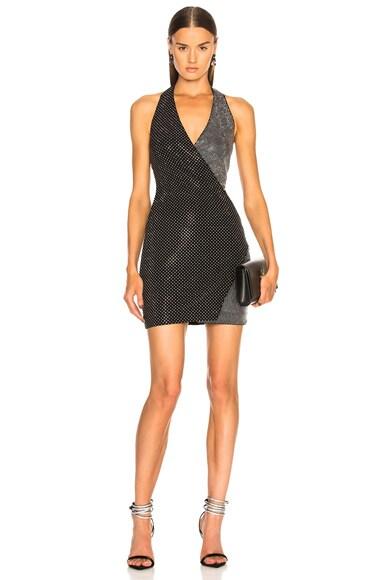 Crystal Embellished Halter Mini Dress
