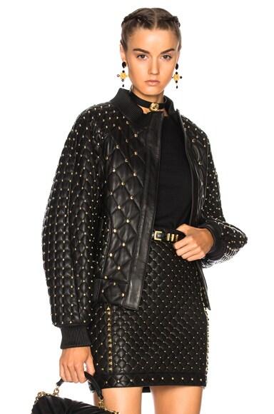 Studded Leather Bomber Jacket
