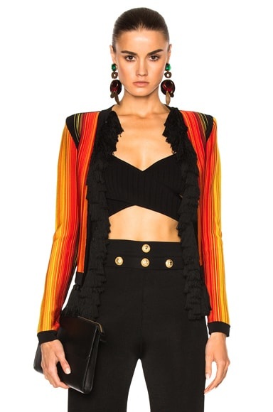 BALMAIN Stripe Jacket in Black, Orange & Yellow