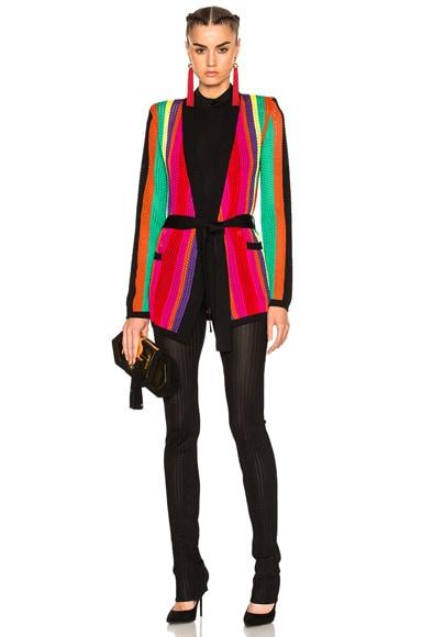 BALMAIN Stripe Knit Jacket in Multi