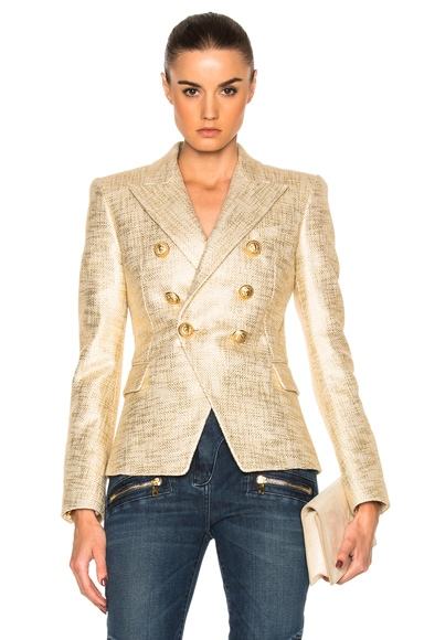 BALMAIN Metallic Blazer in Gold