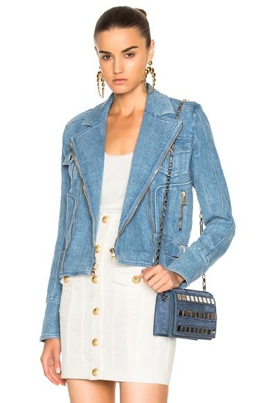 BALMAIN Denim Moto Jacket in Medium Blue