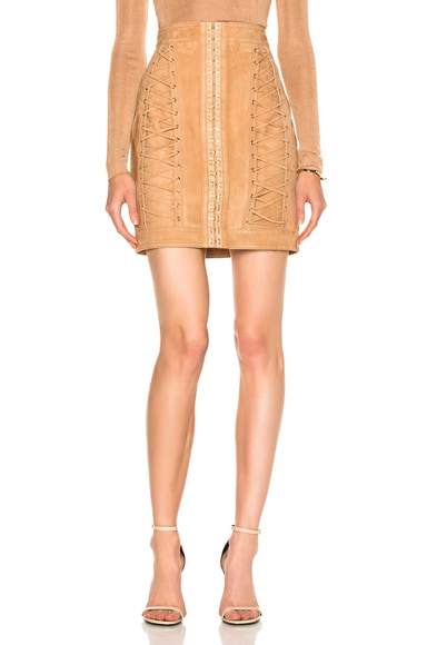 BALMAIN Suede Lace Up Mini Skirt in Sable