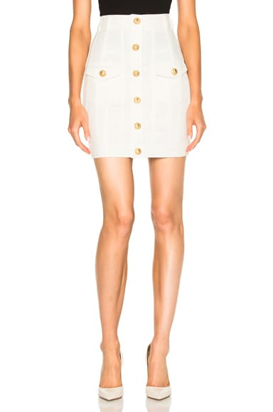 BALMAIN High Waisted Denim Skirt in White