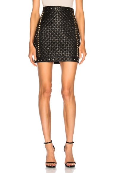 Studded Quilted Leather Mini Skirt
