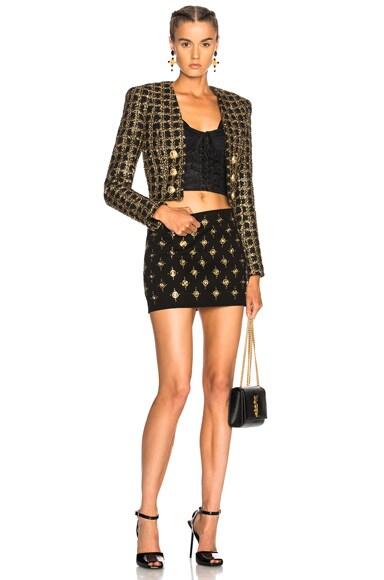 Denim Embellished Mini Skirt
