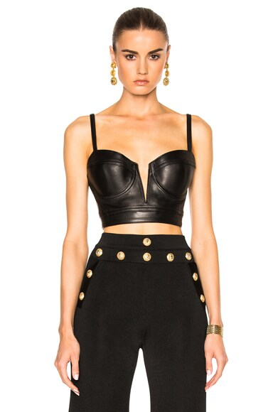 Leather Cropped Bra Top