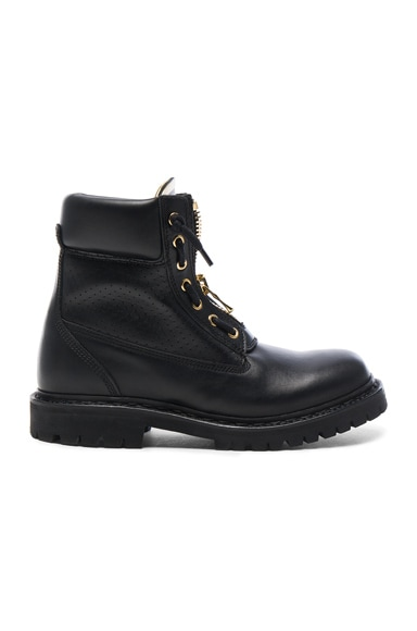BALMAIN Leather Taiga Boots in Black