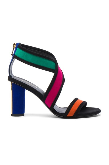 BALMAIN Suede Talon Strap Sandals in Multi