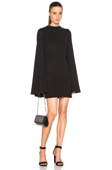Brandon Maxwell Pleat Back Mini Dress in Black
