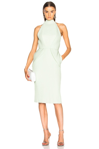 Foldover Backless Pintucked Cocktail Dress