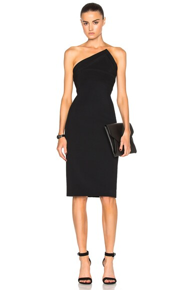 Brandon Maxwell Triangle Bodice Dress in Black