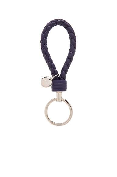 Bottega Veneta Leather Key Ring in Atlantic