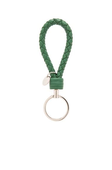 Bottega Veneta Leather Key Ring in Kelly