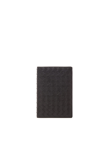 Bottega Veneta Intrecciato Nappa Passport Case in Black