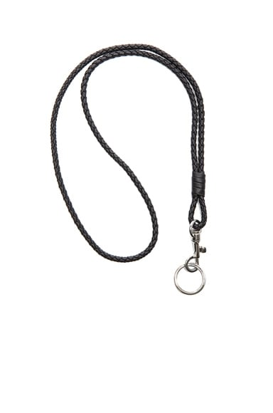 Bottega Veneta Inrecciato Nappa Leather Key Holder in Black