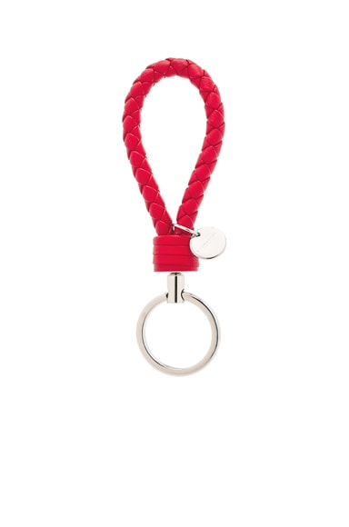 Bottega Veneta Leather Key Ring in Vesuvio