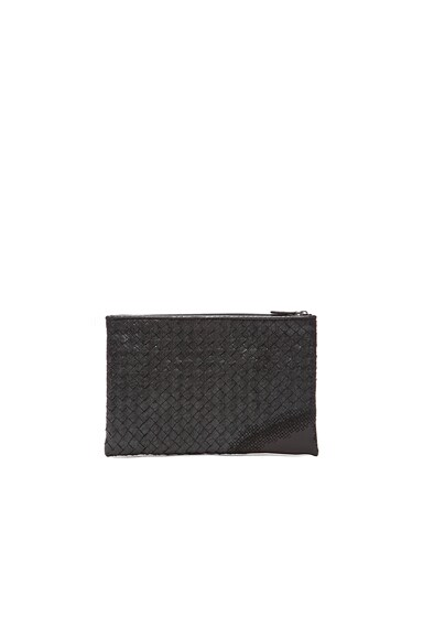 Bottega Veneta Metallic Ayers Zip Top Pouch in Black
